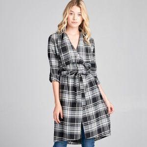 Jackets & Blazers - Plus size 3/4 roll up sleeve plaid woven jacket